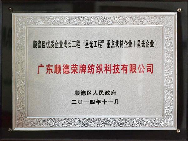 """順德區優質企業成長工程""""星光工程""""重點扶持企業"""