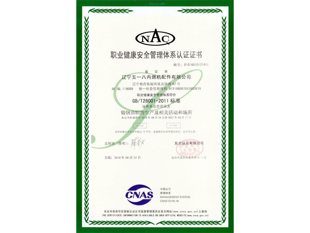 OHSMS18001職業健康安全管理體系認證證書