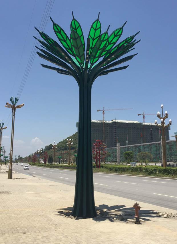 雕塑茶樹燈